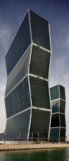 West Bay Lagoon Plaza Towers, Zig Zag Towers, Doha, Qatar designed by MZ Architects :: 35 floors, height 143m