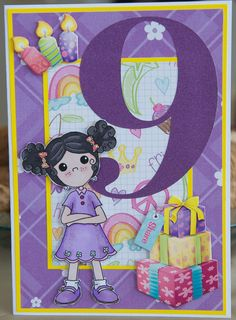 Birthday card 2014: girl; Polycraft stamp; paper from DCWV The Girlhood Stack