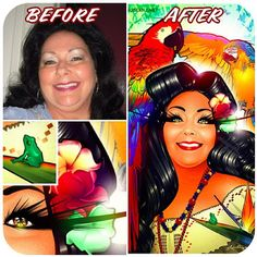 """@riceandbeanz's photo: """"Before & after portrait commission of Maureen G from California."""