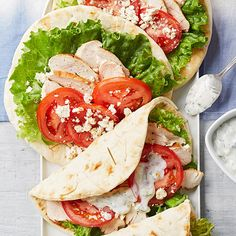 No time to cook? No problem. Simply throw fully cooked chicken breast slices, fresh tomatoes, and feta cheese into pita bread and dress with a low-fat yogurt sauce for a delicious meal in minutes.