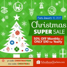 SchoolhouseTeachers.com Christmas Super Sale is going on now!  $9.95/ month or $90/ year. Go to www.SchoolhouseTeachers.com and click on the live Chat button to get started today.