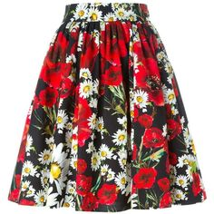 Dolce & Gabbana Daisy and Poppy Print Skirt ($745) ❤ liked on Polyvore featuring skirts, black, multi colored skirt, red skirt, red pleated skirt, knee length pleated skirt and red high waisted skirt