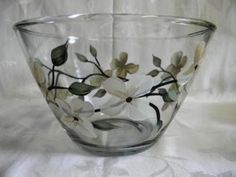 Large serving bowl with dogwood flowers