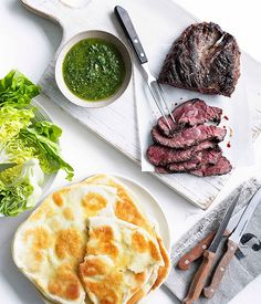 Hanger steak with chimichurri and yoghurt flatbread