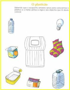 what belongs to the plastic Sistema Solar, Preschool Lessons, Math For Kids, Recycling Bins, Pre School, Special Education, Teaching, Plastic, Crafts