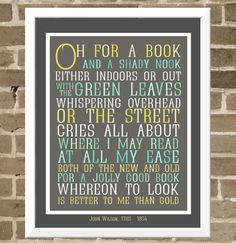 8x10 Book Lover Typography Print - Books and Reading Art Print - Typographic Poetry Art - Oh for a Book Subway Art.