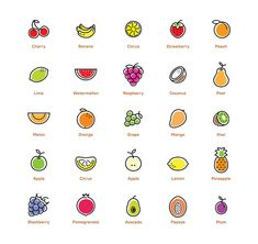 Fruit icons set. by pa3x on Creative Market