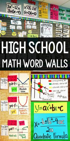 Adding a math word wall to your bulletin board is a great use of empty space. In this post are photos of high school math word walls for algebra, geometry and algebra High school math word wall ideas for Algebra, Geometry and Algebra 2 The Words, Math School, Math Posters Middle School, Stem High School, High School Posters, Algebra 1, Math Classroom Decorations, Classroom Ideas, Proposals