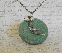 Verdegris Locket  Necklace Swallow  by CreativePleasuresEtc