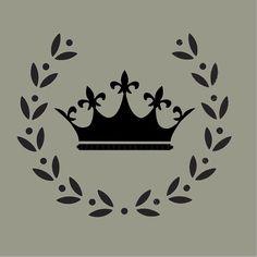STENCIL Vintage French Crown in Wreath 10 x 8.5