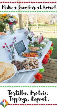 """This is the only taco bar your Cinco de Mayo fiesta needs! Three types of protein, beans, rice and a wide assortment of condiments will have your party (and taste buds) yelling, """"Ole!"""""""