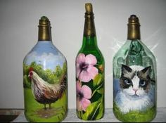 pintura botellas de vidrio - Pesquisa do Google