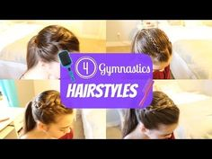 Cute Gymnastics Hairstyles For Practice! Today on Flippin Out we are showing you cute and easy gymnastics hairstyles for practice! Gymnastics Meet Hair, Gymnastics Hairstyles, Gym Hairstyles, Cute Girls Hairstyles, Hairstyles For School, Headband Hairstyles, Pretty Hairstyles, Hairstyle Ideas, Updo Hairstyle