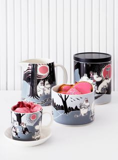 Children and adults alike fall in love with the sympathetic characters of Moomin Valley as created by the author Tove Jansson. The Arabia artist Tove Slotte-Elevant has designed the delightful Moomin objects in keeping with the original drawings. Moomin Mugs, Moomin Valley, Kitchenware, Tableware, Tove Jansson, Marimekko, Nordic Design, Scandinavian Design, Alter
