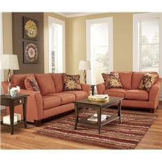 Signature Design by Ashley Gale - Russet Love Seat w/ Loose Seat Cushions - Prime Brothers Furniture - Love Seat Bay City, Saginaw, Midland,...