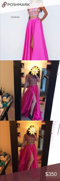 Sherri hill fuchsia 2 piece w/ beaded halter top Size 8 fuchsia 2 piece never worn ( Only in pics ) beaded halter top! Slit on the side of the dress with pockets. Sherri hill Dm me or comment for more info Sherri Hill Dresses Prom