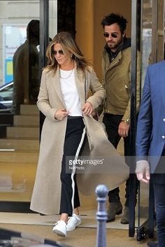 Jennifer Aniston and Justin Theroux seen leaving Chanel store in Paris on April 12, 2017. (Photo by Mehdi Taamallah/NurPhoto via Getty Images)