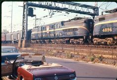 and 1965 Mustang parked together in Philly. My brother's slide taken in 1965 or The train was northbound to New York after leaving Philadelphia's Street Station and was passing by Zoological Drive near the Philadelphia Zoo. 30th Street Station, Philadelphia Zoo, 1965 Mustang, Pennsylvania Railroad, Electric Locomotive, Train Travel, Chicago, York, Photos