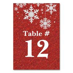 Red Glitter and Snowflakes Holiday Table Number Table Cards