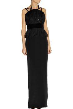 Notte by MarchesaSequined tulle and silk-crepe peplum gownfront