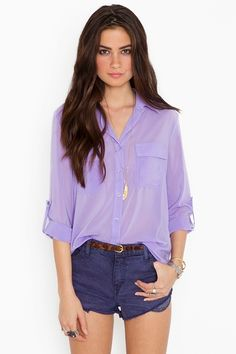 purple sheer top paired with #boyfriend #shorts ..cute and casual for summer! #style #fashion