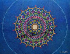"Ocean Flower, 2015. 24"" x 30"", Textured henna style acrylic mandala painting on canvas with mirror. © Bala Thiagarajan, 2015"