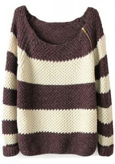 Coffee White Striped Zipper Collarless Loose Thick Sweater