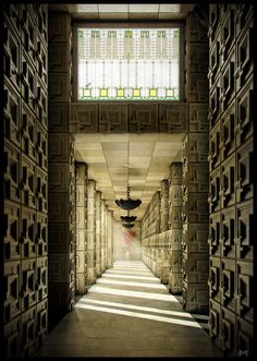 Ennis House Corridor, Frank Lloyd Wright. Hollywood, CA.