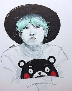 SUGA X KUMAMON  -- I was gonna put his iconic line from NEVERMIND but I thought better of it. Also I f-ed up his hair but you can't tell cause I distracted y'all with white lines  The white pen truly is my friend  #BTS #btsfanart #suga #minyoongi #kumamon by mochijennifah