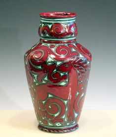 Vintage Italian Pottery Large MCM Art Deco Gazelle Metallic Luster Glaze Vase #PaulsImports #ArtDeco
