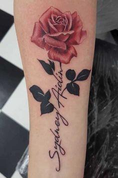 Rose Tattoo With Name, Name Tattoos For Moms, Mommy Tattoos, Tattoos With Kids Names, Baby Tattoos, Tattoos For Daughters, Flower Tattoos With Names, Tatoos, Name Flower Tattoo