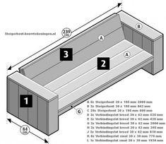 Maak zelf een loungebank van steigerhout met deze gratis bouwtekening.