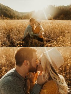 McCall Idaho Engagements // Kortney + Jake Golden Evening in the Mountains // burnt orange sweater paired with Gigi Pip Hat for the perfect autumn outfit
