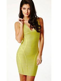 Lime V-neck Ribbed Party Bandage Dress  $61.95 http://www.sensationofnight.com/lime-v-neck-ribbed-party-bandage-dress-28053.html