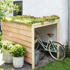 Garden Bike Storage, Backyard Storage, Small Gardens, Outdoor Gardens, Dream Garden, Home And Garden, Bike Shelter, Bike Shed, Outdoor Living