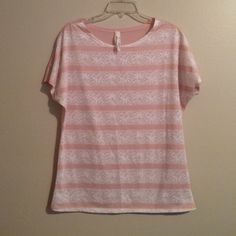 Pretty pastel pink top and off white lace tee No need for a cami Seven7 Tops Tees - Short Sleeve