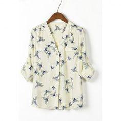 Bird Print V-Neck Ladylike Style Chiffon Shirt For Women $12.03
