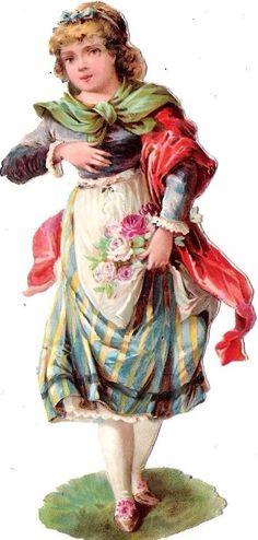 Oblaten Glanzbild scrap die cut chromo Dame femme Lady Kind child Mädchen Rosen