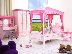 Traditional color for girl's bed room is pink. PRINCESS PALACE BEDROOM SET is a smart combination of girly design and functional constructive which will be appreciated by parents. The set includes: a night stand, a desk, a wardrobe with pinky décor, a princess bed which features a diamond tufted tiara and tender curtains. Make your little Princess happy right now enjoying special 30% OFF price!