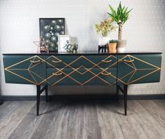 A vintage Meredew dressing table was transformed into a cool sideboard using a deep green-blue blend of Fusion Mineral Paint colours and a hand-created geometric diamond design in Copper Metallic. Geometric Furniture, Mcm Furniture, Art Deco Furniture, Paint Furniture, Furniture Makeover, Furniture Design, Painted Sideboard, Vintage Sideboard, Painted Chest