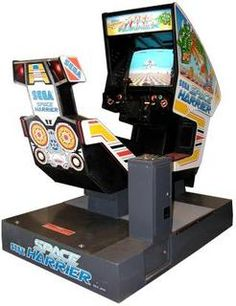 Space Harrier hydraulic arcade cabinet, One of the first Sega arcade games featuring bitmap scaling for a effect. Subsequent titles included Out Run, Operation Thunderbolt and Afterburner. Classic Video Games, Retro Video Games, Retro Games, Retro Arcade Machine, Computer Video Games, Mini Arcade, Old School Toys, School Games, Mini Games