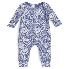 Blue + Flowers on Baby Soft Cotton @TesaBabe.com
