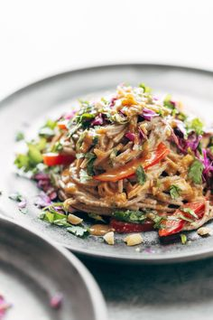 Spicy Peanut Soba Noodle Salad - red peppers, cabbage, chicken, soba noodles, and a quick homemade spicy peanut sauce. salads don't get much yummier than this. gluten free. #glutenfree #sugarfree #salad #dinner #lunch #recipe #easyrecipe | pinchofyum.com