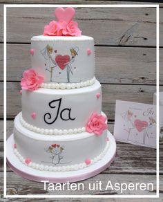 Bruidstaart JA poppetjes roze