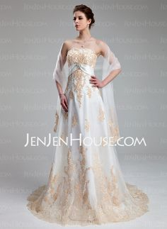 Wedding Dresses - $186.99 - Empire Sweetheart Court Train Satin Tulle Wedding Dress With Lace Crystal Brooch (002011662) http://jenjenhouse.com/Empire-Sweetheart-Court-Train-Satin-Tulle-Wedding-Dress-With-Lace-Crystal-Brooch-002011662-g11662