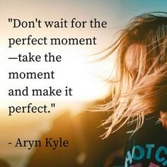 """""""Don't wait for the perfect moment - take the moment and make it perfect."""" - Aryn Kyle"""