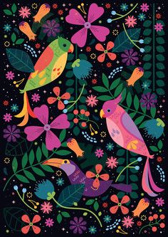 Here is last weeks Colour Collective illustration, inspired by tropical birds. The chosen colour was 'Scarlet' which was the perfect star...