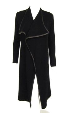 RALPH LAUREN BLACK LABEL BLACK LEATHER TRIM LONG CASHMERE CARDIGAN SZ.S…