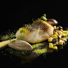 Wild catch seabass, mushrooms and corn #buonaterra #chefsofinstagram…
