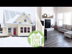 Our eco-friendly home is finally done and I'm so excited to show you all of its sustainable features - such as the solar panels, recycled content materials and secondhand finds! Moldings And Trim, Eco Friendly House, Vinyl Siding, In The Tree, Exterior Lighting, Exterior Doors, Solar Panels, House Tours, Building A House